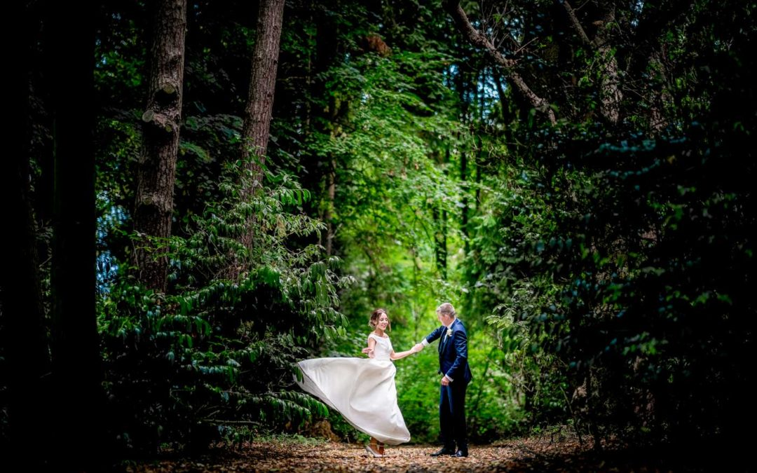 Bride and groom in a pool of light in the grounds of Hampton Manor